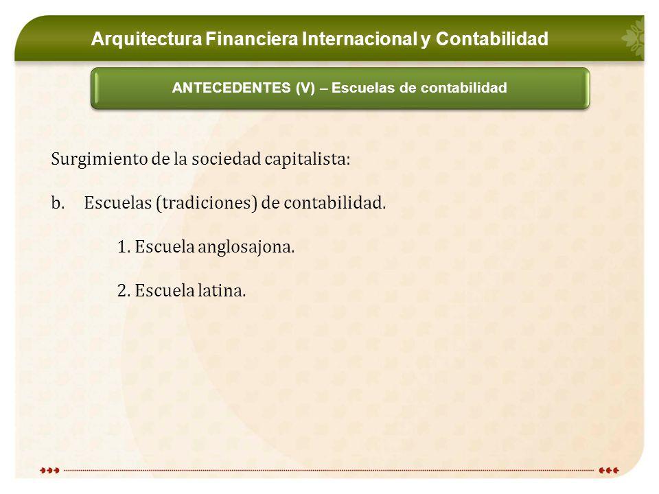 Arquitectura Financiera Internacional y Contabilidad ANTECEDENTES (V) – Escuelas de contabilidad Surgimiento de la sociedad capitalista: b.Escuelas (tradiciones) de contabilidad.