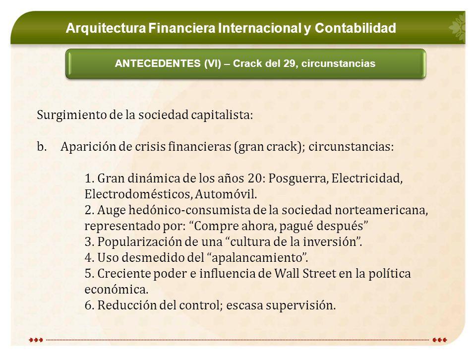 Arquitectura Financiera Internacional y Contabilidad ANTECEDENTES (VI) – Crack del 29, circunstancias Surgimiento de la sociedad capitalista: b.Aparición de crisis financieras (gran crack); circunstancias: 1.