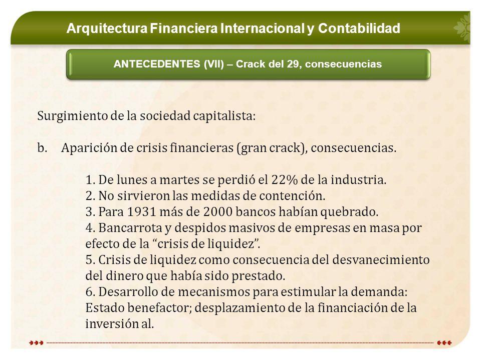 Arquitectura Financiera Internacional y Contabilidad ANTECEDENTES (VII) – Crack del 29, consecuencias Surgimiento de la sociedad capitalista: b.Aparición de crisis financieras (gran crack), consecuencias.