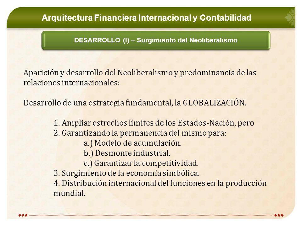 Arquitectura Financiera Internacional y Contabilidad DESARROLLO (I) – Surgimiento del Neoliberalismo Aparición y desarrollo del Neoliberalismo y predominancia de las relaciones internacionales: Desarrollo de una estrategia fundamental, la GLOBALIZACIÓN.