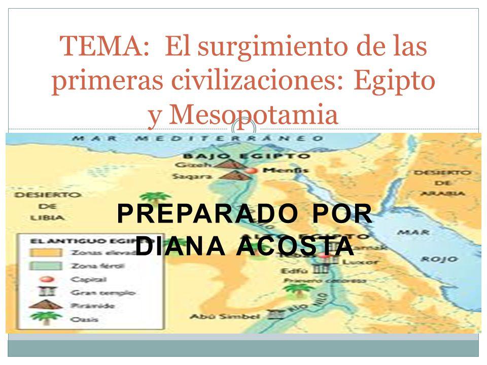 PREPARADO POR DIANA ACOSTA TEMA: El surgimiento de las primeras civilizaciones: Egipto y Mesopotamia