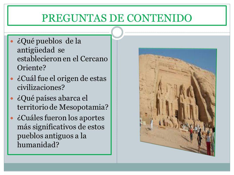 PREGUNTAS DE CONTENIDO ¿Qué pueblos de la antigüedad se establecieron en el Cercano Oriente.
