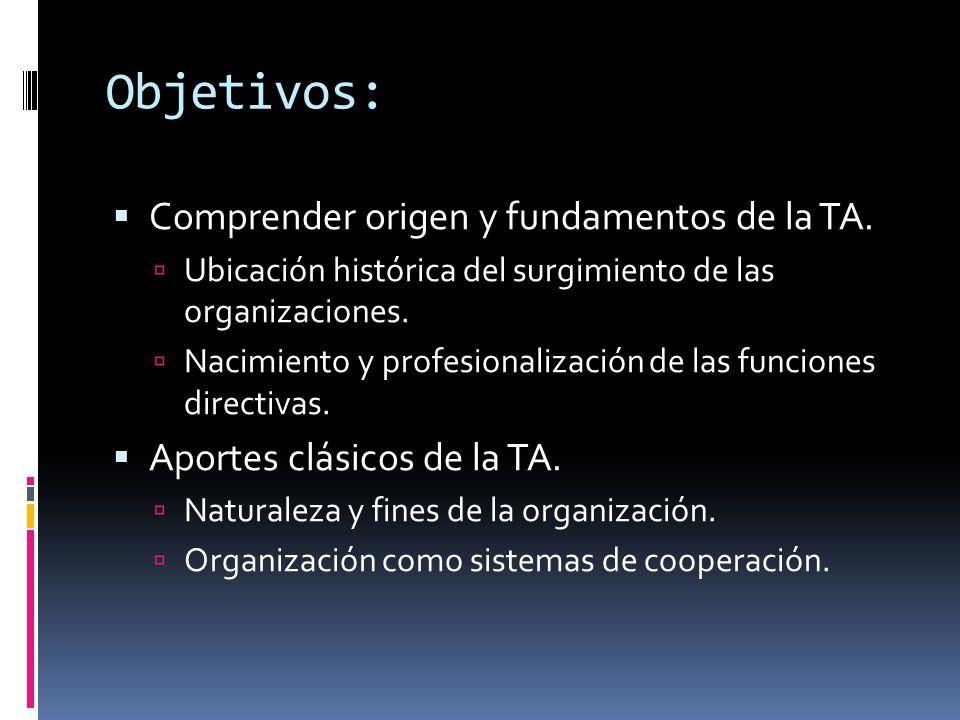 Objetivos:  Comprender origen y fundamentos de la TA.