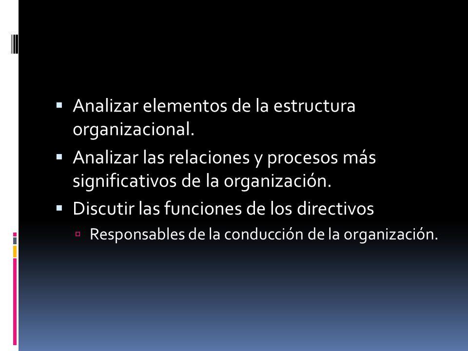  Analizar elementos de la estructura organizacional.