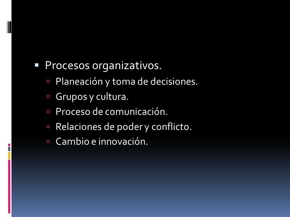 Procesos organizativos.  Planeación y toma de decisiones.