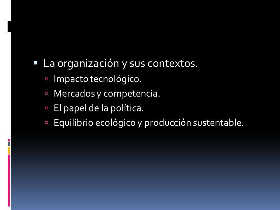  La organización y sus contextos.  Impacto tecnológico.