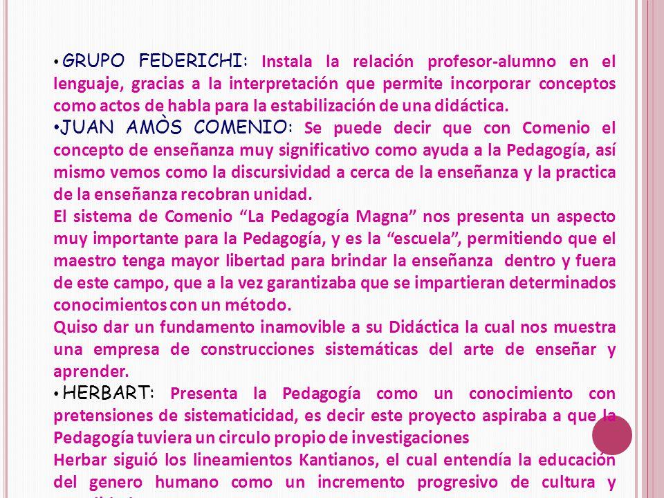 GRUPO FEDERICHI: Instala la relación profesor-alumno en el lenguaje, gracias a la interpretación que permite incorporar conceptos como actos de habla para la estabilización de una didáctica.