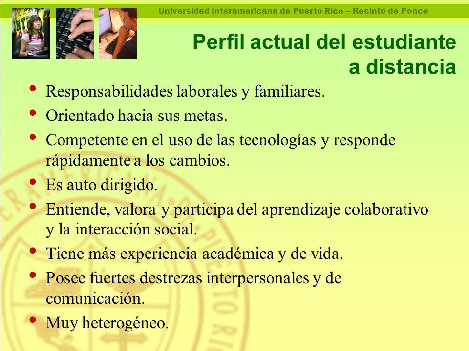 Universidad Interamericana de Puerto Rico – Recinto de Ponce Perfil actual del estudiante a distancia Responsabilidades laborales y familiares.