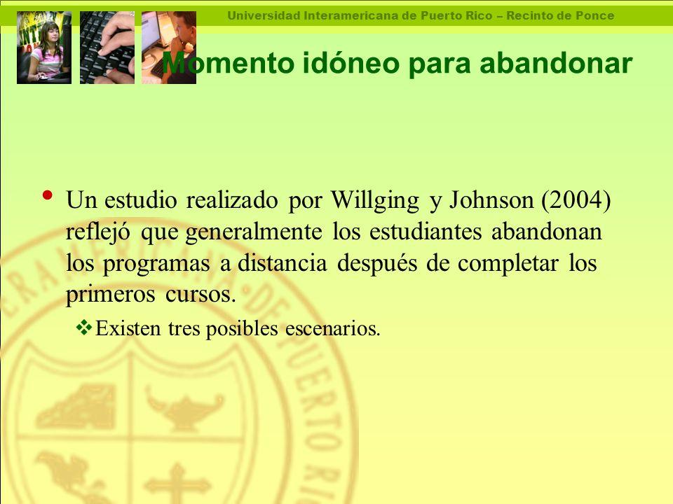Universidad Interamericana de Puerto Rico – Recinto de Ponce Momento idóneo para abandonar Un estudio realizado por Willging y Johnson (2004) reflejó que generalmente los estudiantes abandonan los programas a distancia después de completar los primeros cursos.