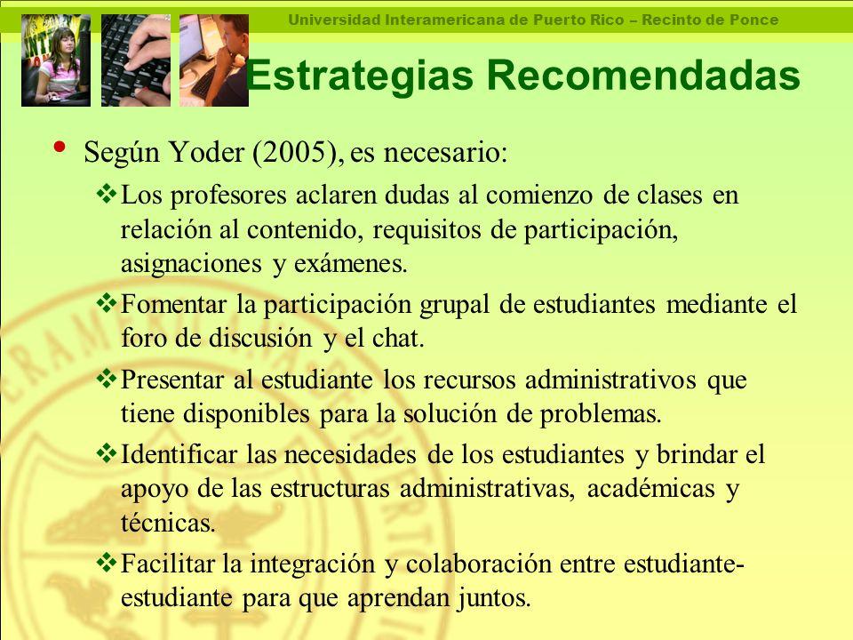 Universidad Interamericana de Puerto Rico – Recinto de Ponce Estrategias Recomendadas Según Yoder (2005), es necesario:  Los profesores aclaren dudas al comienzo de clases en relación al contenido, requisitos de participación, asignaciones y exámenes.