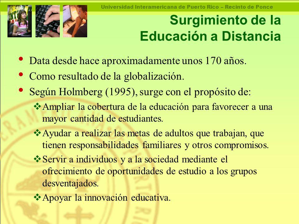 Universidad Interamericana de Puerto Rico – Recinto de Ponce Surgimiento de la Educación a Distancia Data desde hace aproximadamente unos 170 años.