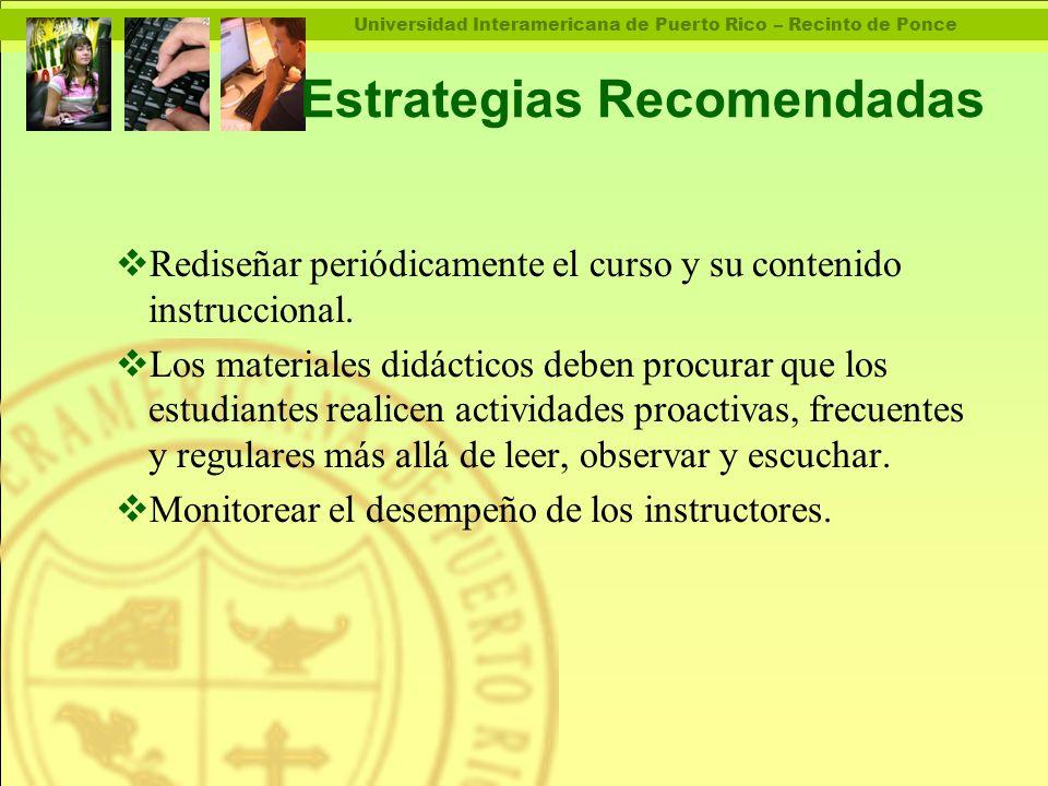 Universidad Interamericana de Puerto Rico – Recinto de Ponce Estrategias Recomendadas  Rediseñar periódicamente el curso y su contenido instruccional.
