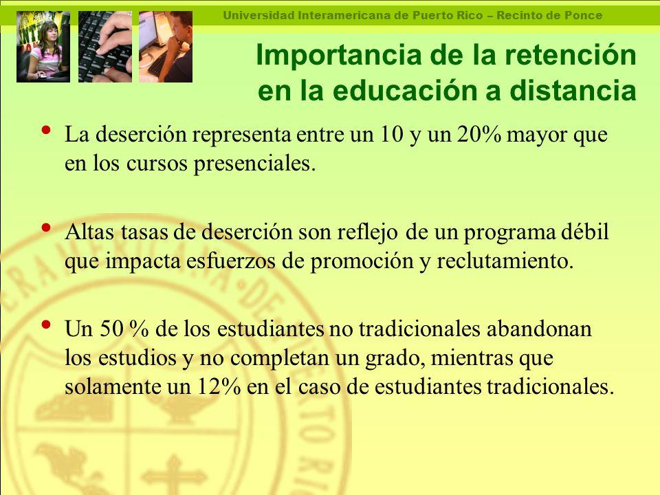 Universidad Interamericana de Puerto Rico – Recinto de Ponce Importancia de la retención en la educación a distancia La deserción representa entre un 10 y un 20% mayor que en los cursos presenciales.