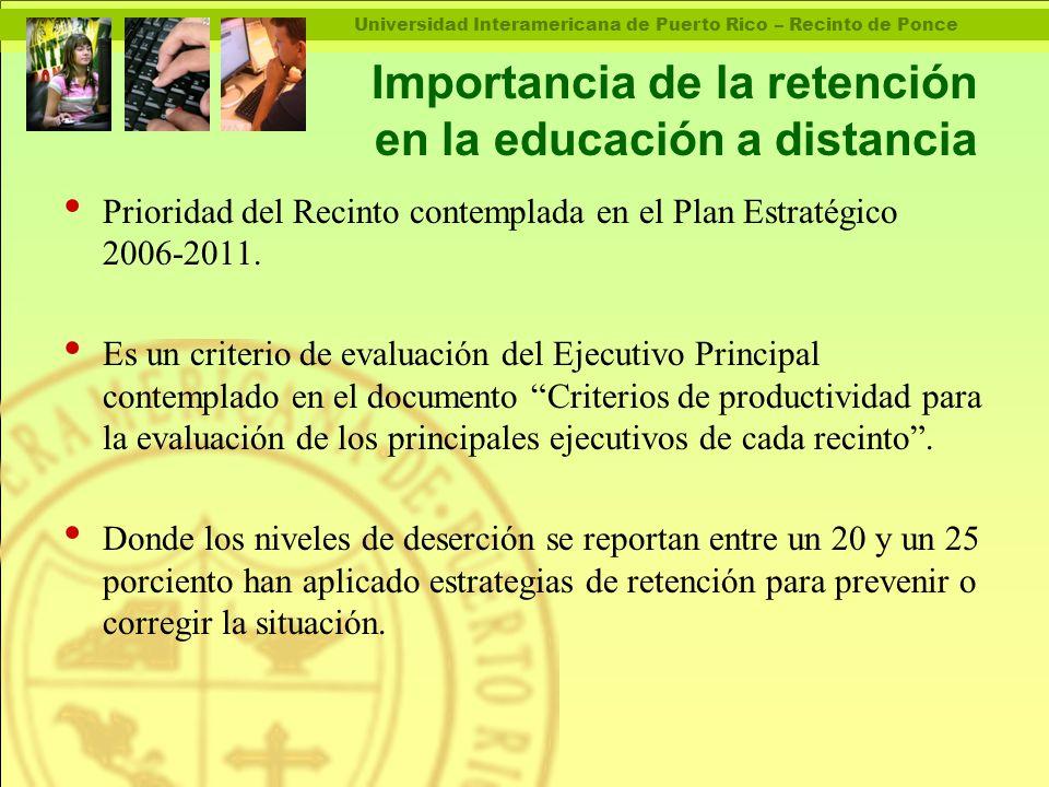 Universidad Interamericana de Puerto Rico – Recinto de Ponce Importancia de la retención en la educación a distancia Prioridad del Recinto contemplada en el Plan Estratégico 2006-2011.