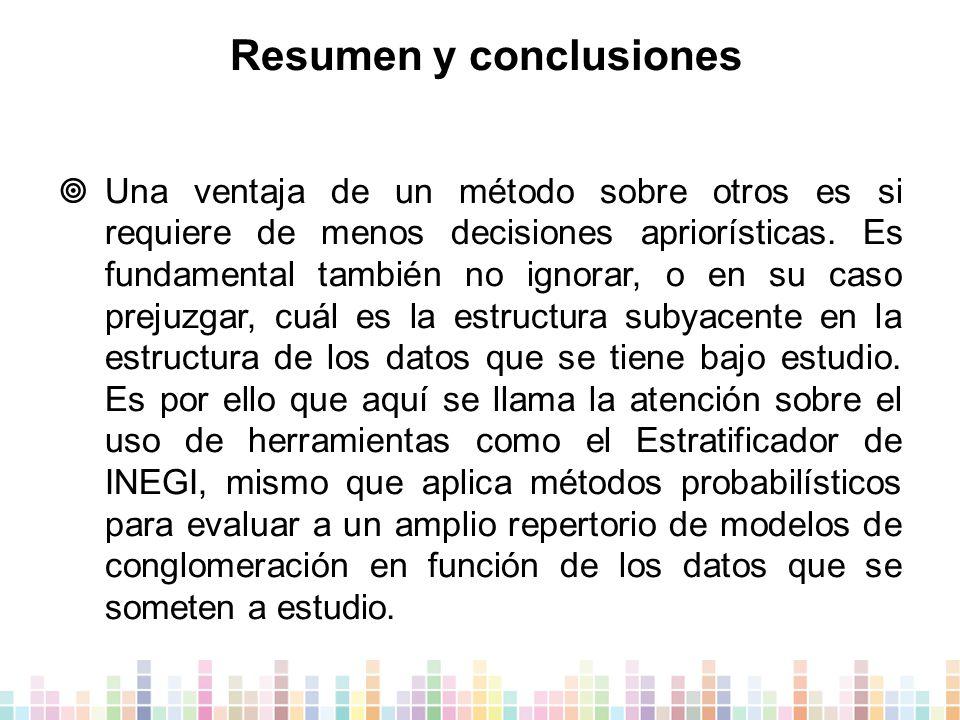 Resumen y conclusiones  Una ventaja de un método sobre otros es si requiere de menos decisiones apriorísticas.