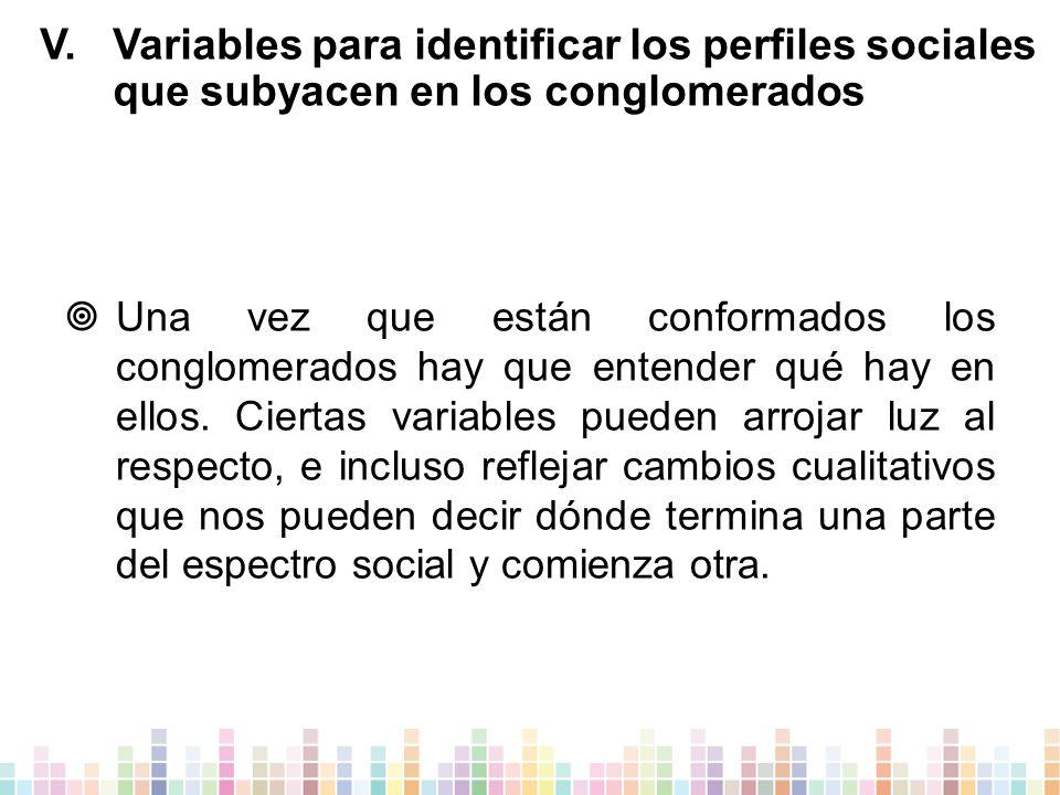 V.Variables para identificar los perfiles sociales que subyacen en los conglomerados  Una vez que están conformados los conglomerados hay que entender qué hay en ellos.