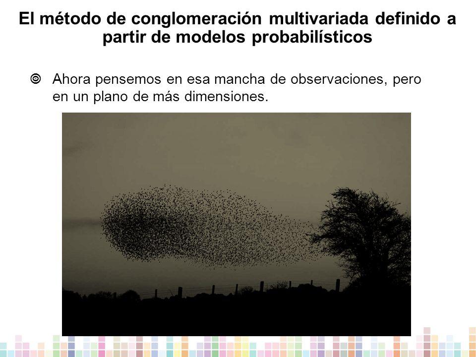 El método de conglomeración multivariada definido a partir de modelos probabilísticos  Ahora pensemos en esa mancha de observaciones, pero en un plano de más dimensiones.
