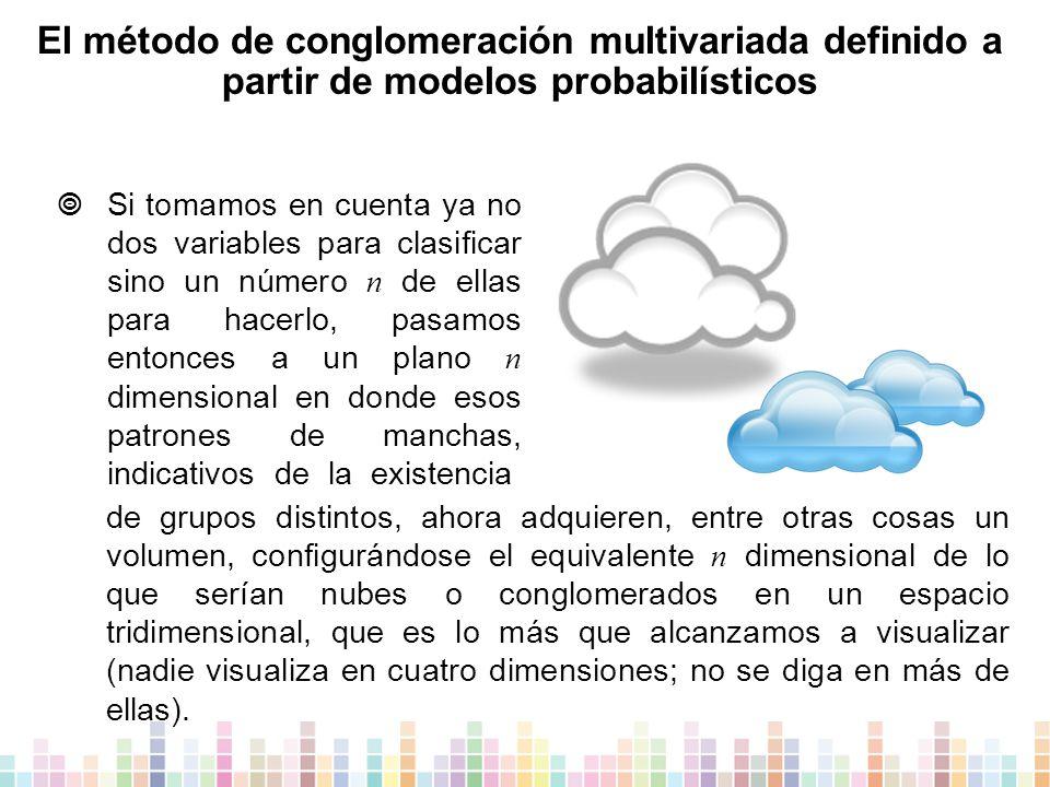 El método de conglomeración multivariada definido a partir de modelos probabilísticos  Si tomamos en cuenta ya no dos variables para clasificar sino un número n de ellas para hacerlo, pasamos entonces a un plano n dimensional en donde esos patrones de manchas, indicativos de la existencia de grupos distintos, ahora adquieren, entre otras cosas un volumen, configurándose el equivalente n dimensional de lo que serían nubes o conglomerados en un espacio tridimensional, que es lo más que alcanzamos a visualizar (nadie visualiza en cuatro dimensiones; no se diga en más de ellas).
