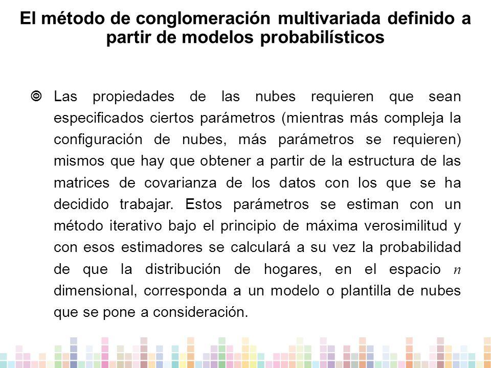 El método de conglomeración multivariada definido a partir de modelos probabilísticos  Las propiedades de las nubes requieren que sean especificados ciertos parámetros (mientras más compleja la configuración de nubes, más parámetros se requieren) mismos que hay que obtener a partir de la estructura de las matrices de covarianza de los datos con los que se ha decidido trabajar.