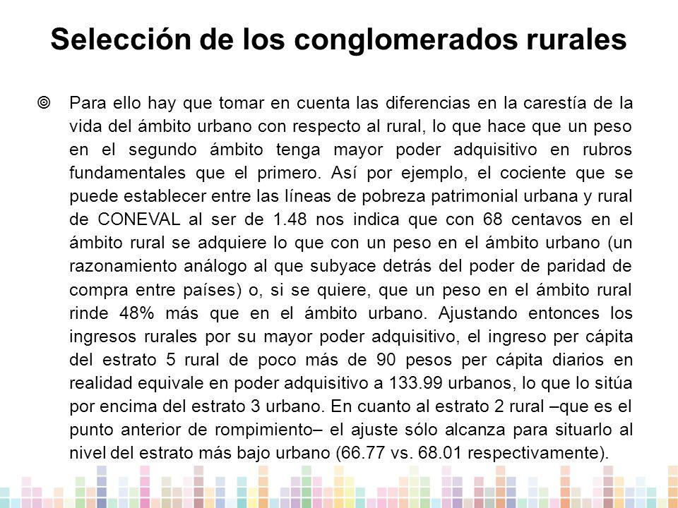 Selección de los conglomerados rurales  Para ello hay que tomar en cuenta las diferencias en la carestía de la vida del ámbito urbano con respecto al rural, lo que hace que un peso en el segundo ámbito tenga mayor poder adquisitivo en rubros fundamentales que el primero.