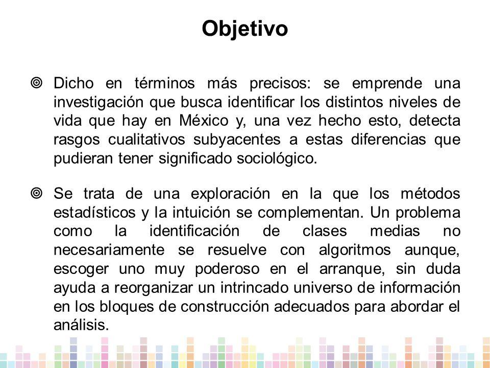 Objetivo  Dicho en términos más precisos: se emprende una investigación que busca identificar los distintos niveles de vida que hay en México y, una vez hecho esto, detecta rasgos cualitativos subyacentes a estas diferencias que pudieran tener significado sociológico.