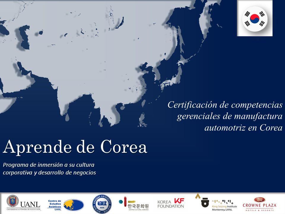 Aprende de Corea Programa de inmersión a su cultura corporativa y desarrollo de negocios Certificación de competencias gerenciales de manufactura automotriz en Corea