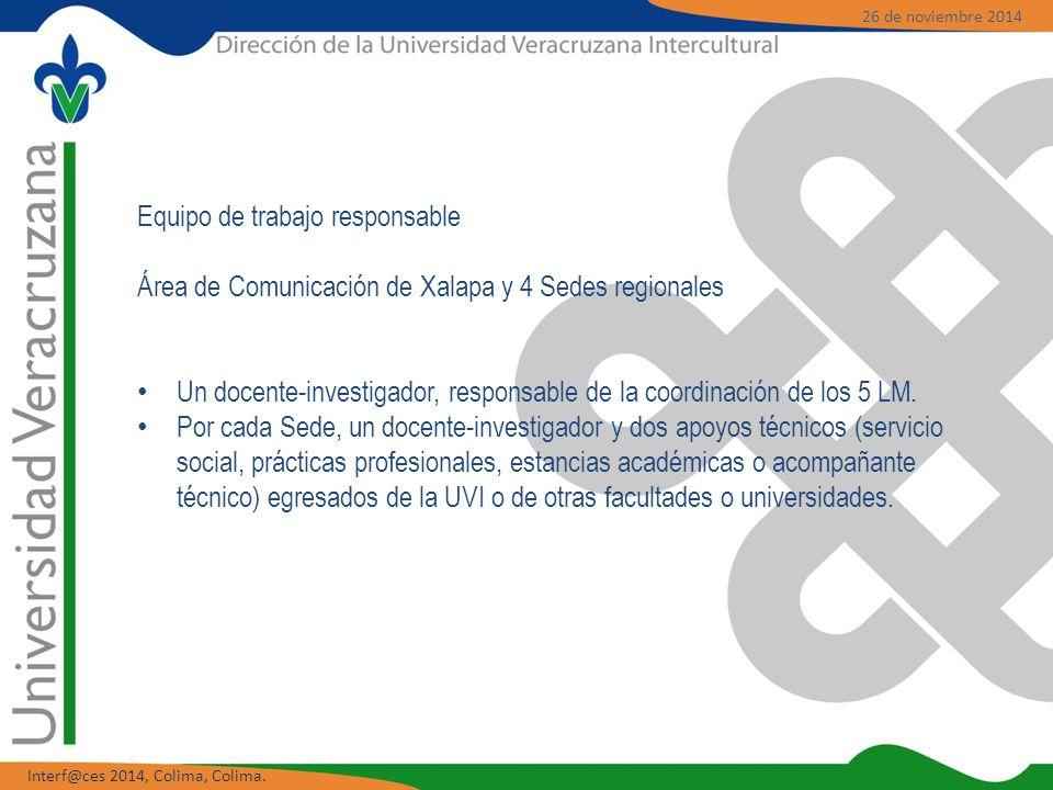 Equipo de trabajo responsable Área de Comunicación de Xalapa y 4 Sedes regionales Un docente-investigador, responsable de la coordinación de los 5 LM.