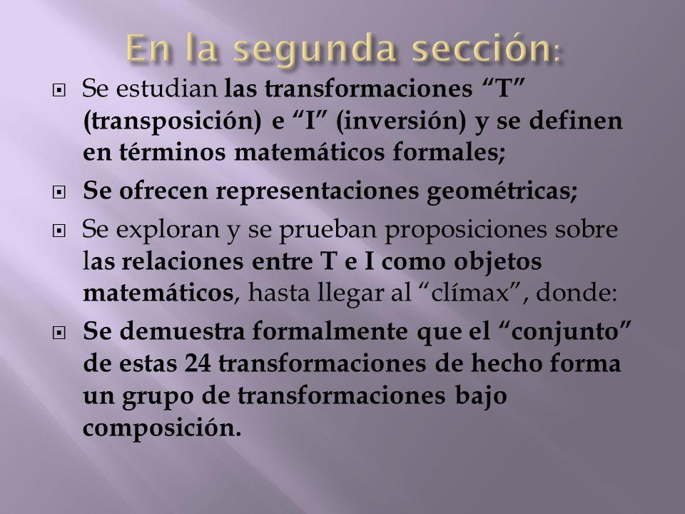  Se estudian las transformaciones T (transposición) e I (inversión) y se definen en términos matemáticos formales;  Se ofrecen representaciones geométricas;  Se exploran y se prueban proposiciones sobre l as relaciones entre T e I como objetos matemáticos, hasta llegar al clímax , donde:  Se demuestra formalmente que el conjunto de estas 24 transformaciones de hecho forma un grupo de transformaciones bajo composición.