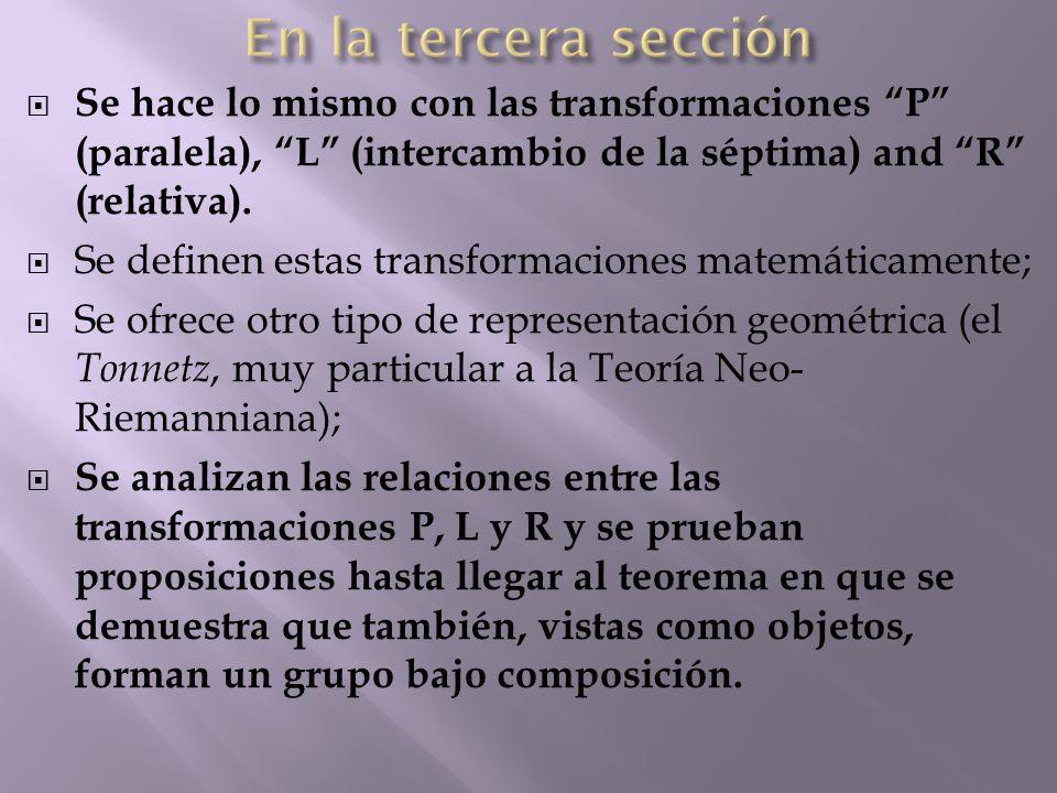  Se hace lo mismo con las transformaciones P (paralela), L (intercambio de la séptima) and R (relativa).