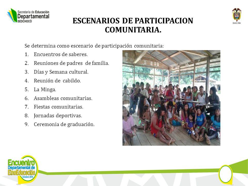 ESCENARIOS DE PARTICIPACION COMUNITARIA.