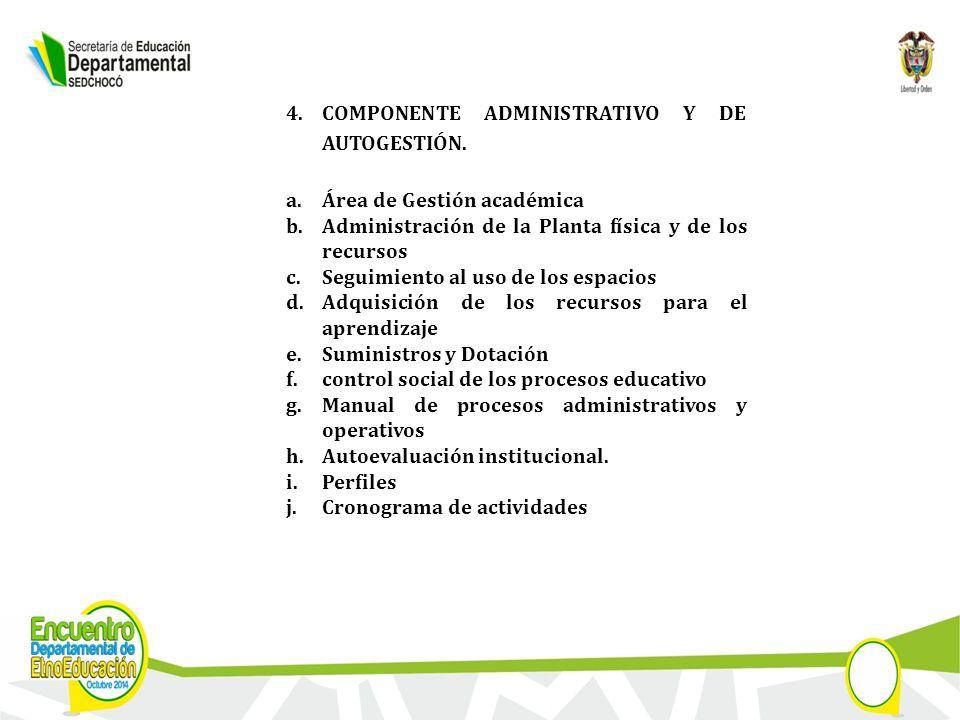 4.COMPONENTE ADMINISTRATIVO Y DE AUTOGESTIÓN.