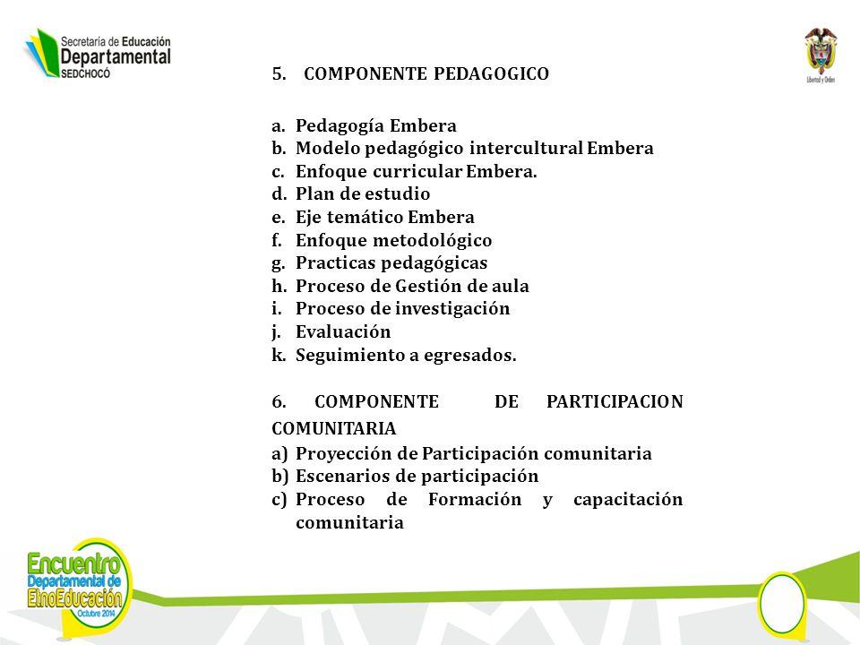 5.COMPONENTE PEDAGOGICO a.Pedagogía Embera b.Modelo pedagógico intercultural Embera c.Enfoque curricular Embera.