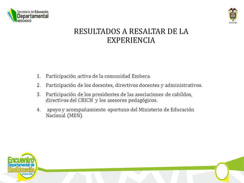 RESULTADOS A RESALTAR DE LA EXPERIENCIA 1.Participación activa de la comunidad Embera.