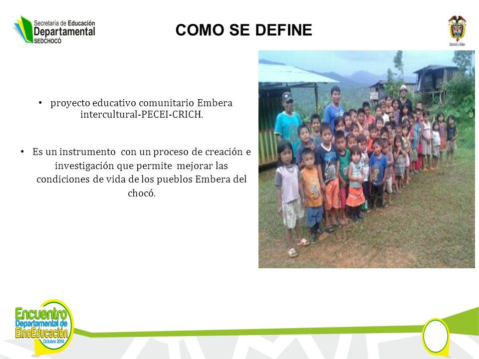 COMO SE DEFINE proyecto educativo comunitario Embera intercultural-PECEI-CRICH.