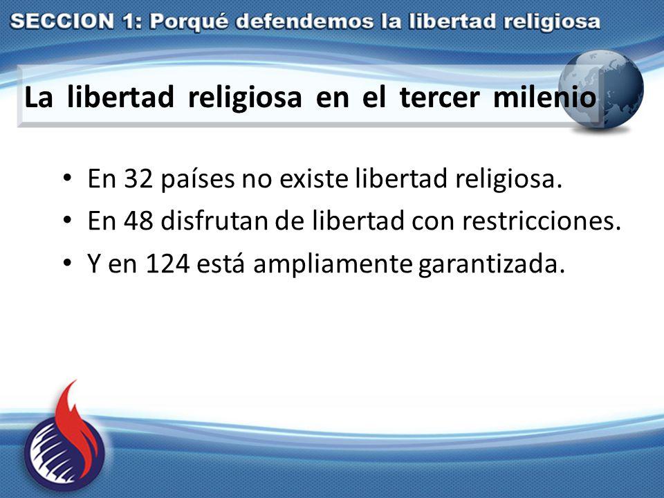 La libertad religiosa en el tercer milenio En 32 países no existe libertad religiosa.