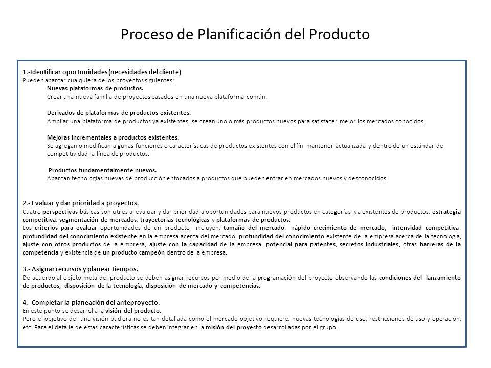 Proceso de Planificación del Producto 1.-Identificar oportunidades (necesidades del cliente) Pueden abarcar cualquiera de los proyectos siguientes: Nuevas plataformas de productos.