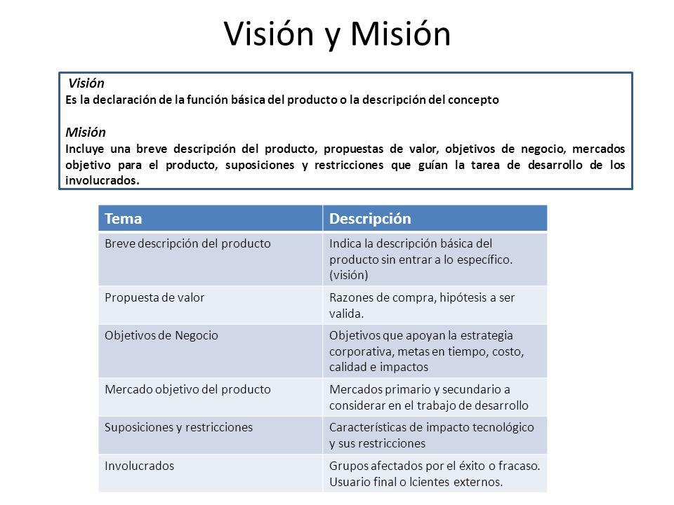Visión y Misión Visión Es la declaración de la función básica del producto o la descripción del concepto Misión Incluye una breve descripción del producto, propuestas de valor, objetivos de negocio, mercados objetivo para el producto, suposiciones y restricciones que guían la tarea de desarrollo de los involucrados.