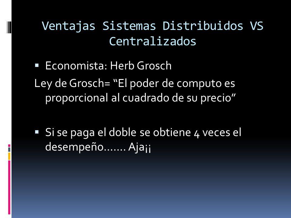 Ventajas Sistemas Distribuidos VS Centralizados  Economista: Herb Grosch Ley de Grosch= El poder de computo es proporcional al cuadrado de su precio  Si se paga el doble se obtiene 4 veces el desempeño…….