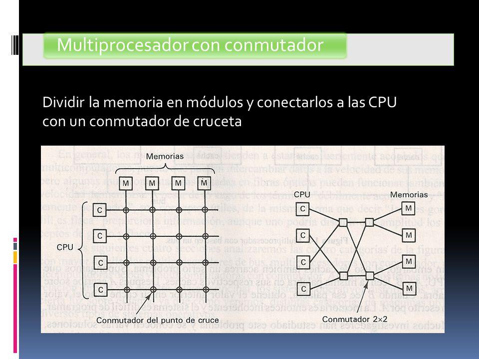 Multiprocesador con conmutador Dividir la memoria en módulos y conectarlos a las CPU con un conmutador de cruceta