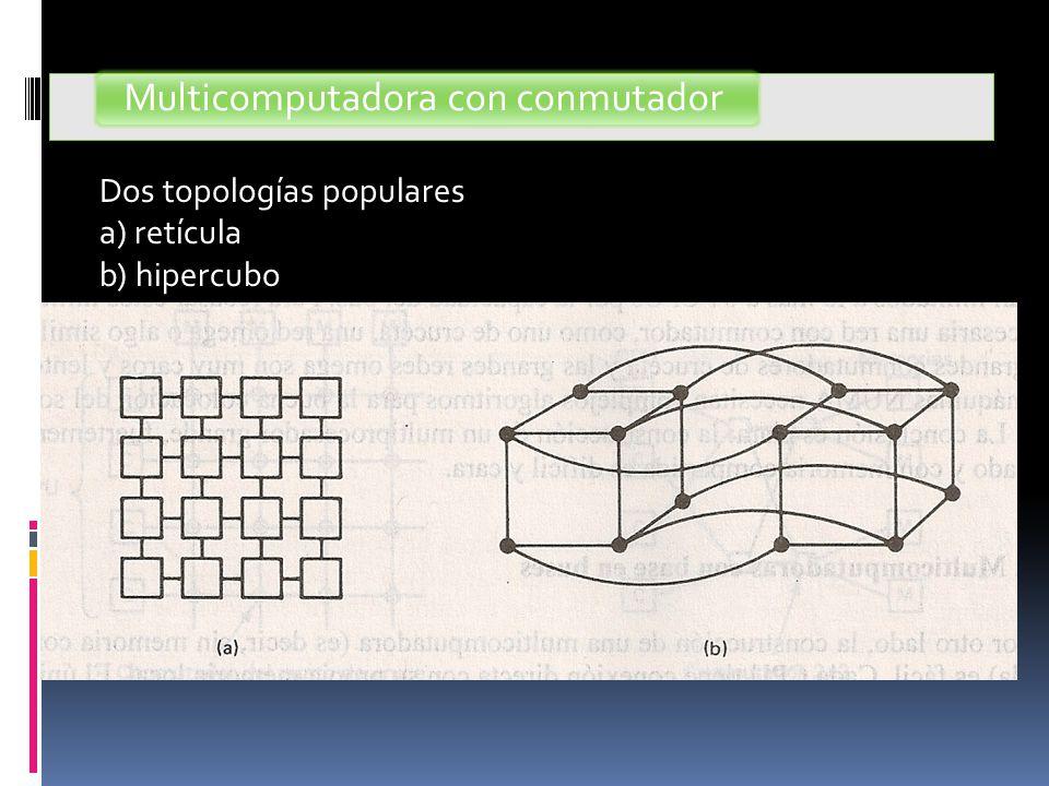 Multicomputadora con conmutador Dos topologías populares a) retícula b) hipercubo