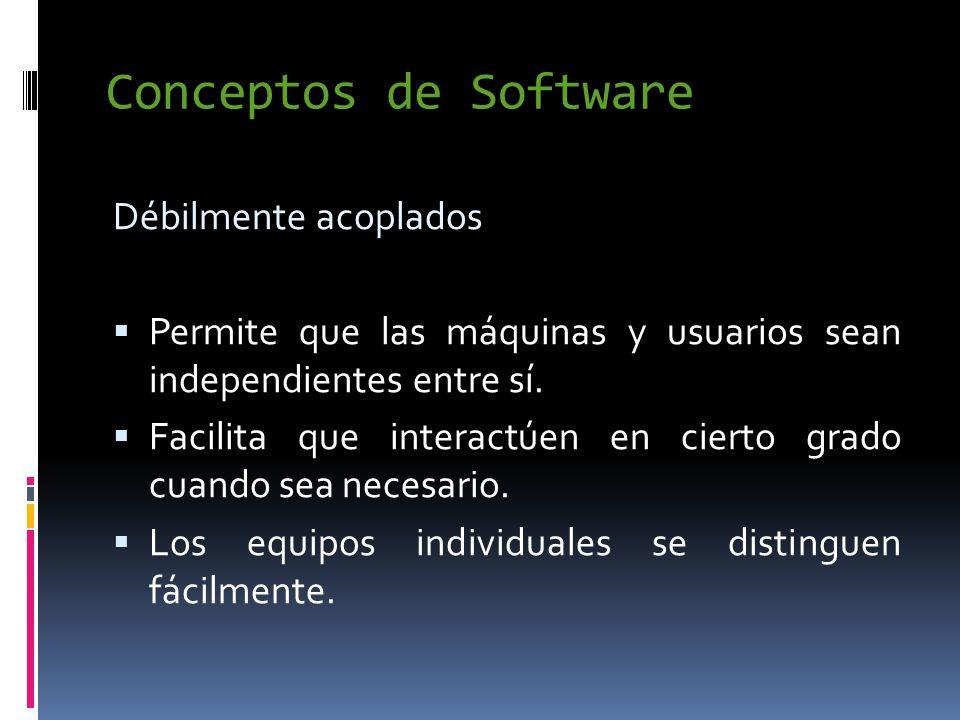 Conceptos de Software Débilmente acoplados  Permite que las máquinas y usuarios sean independientes entre sí.