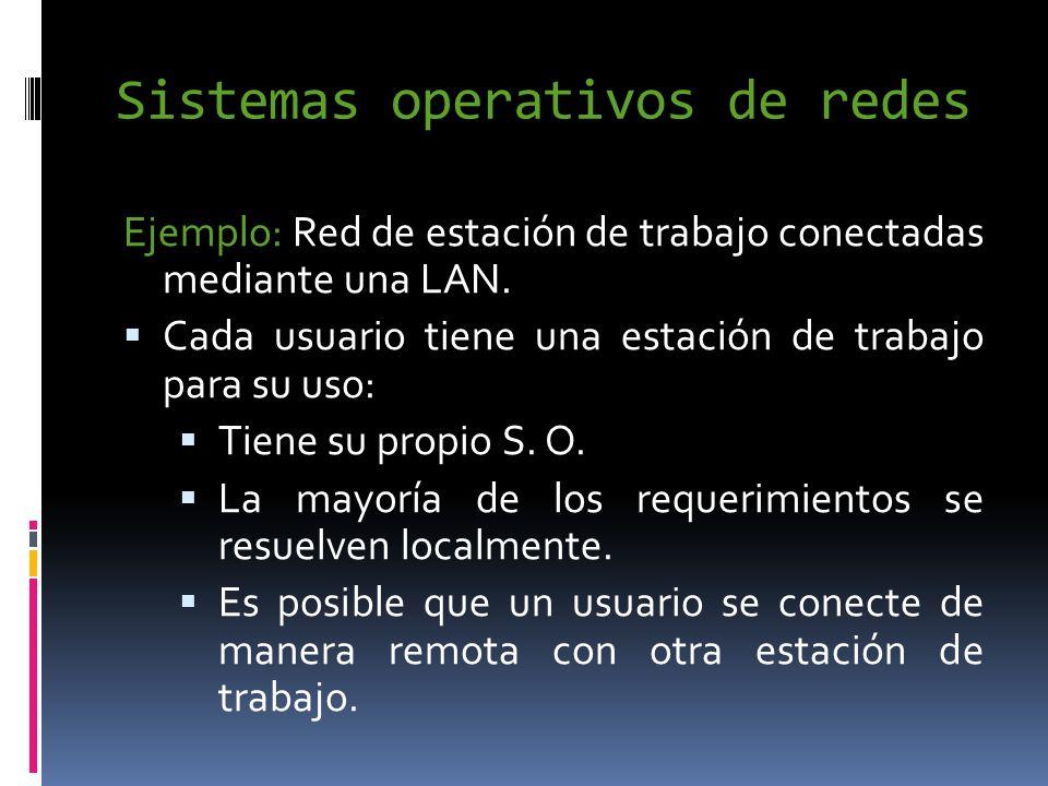 Sistemas operativos de redes Ejemplo: Red de estación de trabajo conectadas mediante una LAN.
