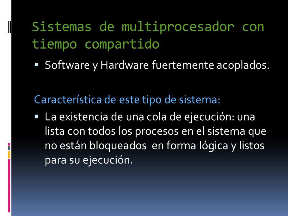 Sistemas de multiprocesador con tiempo compartido  Software y Hardware fuertemente acoplados.