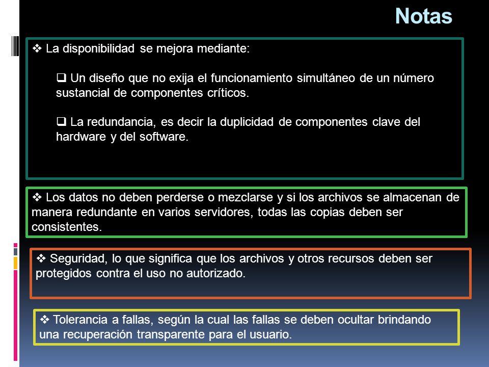 Notas  La disponibilidad se mejora mediante:  Un diseño que no exija el funcionamiento simultáneo de un número sustancial de componentes críticos.