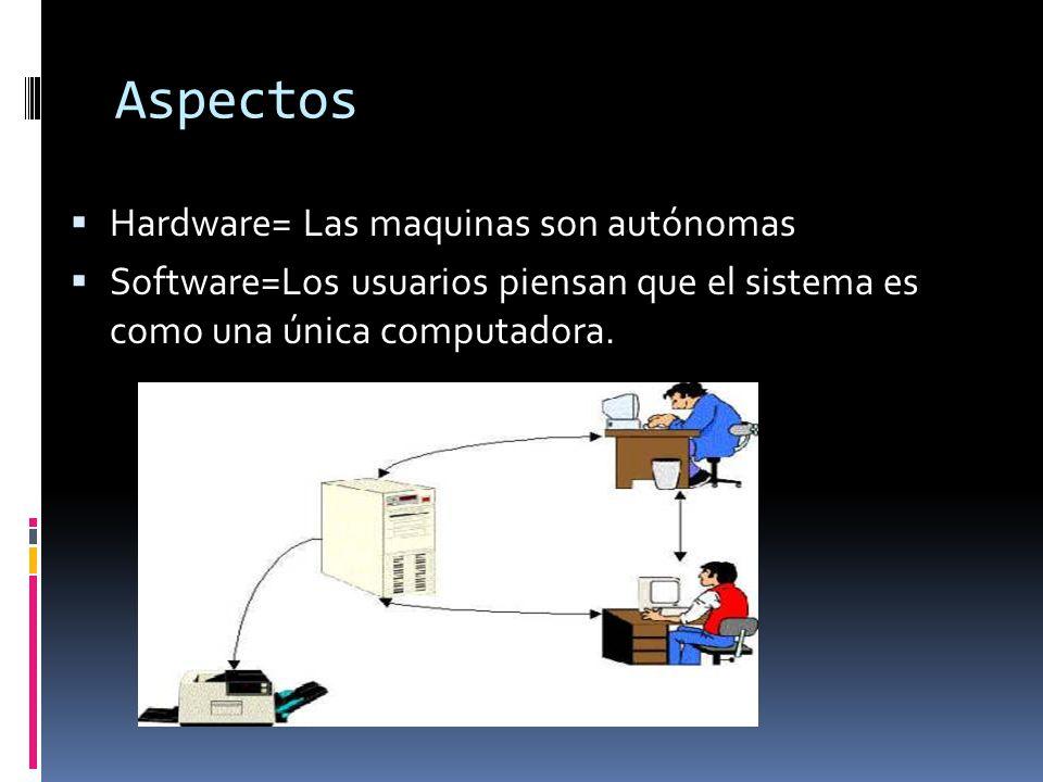 Aspectos  Hardware= Las maquinas son autónomas  Software=Los usuarios piensan que el sistema es como una única computadora.