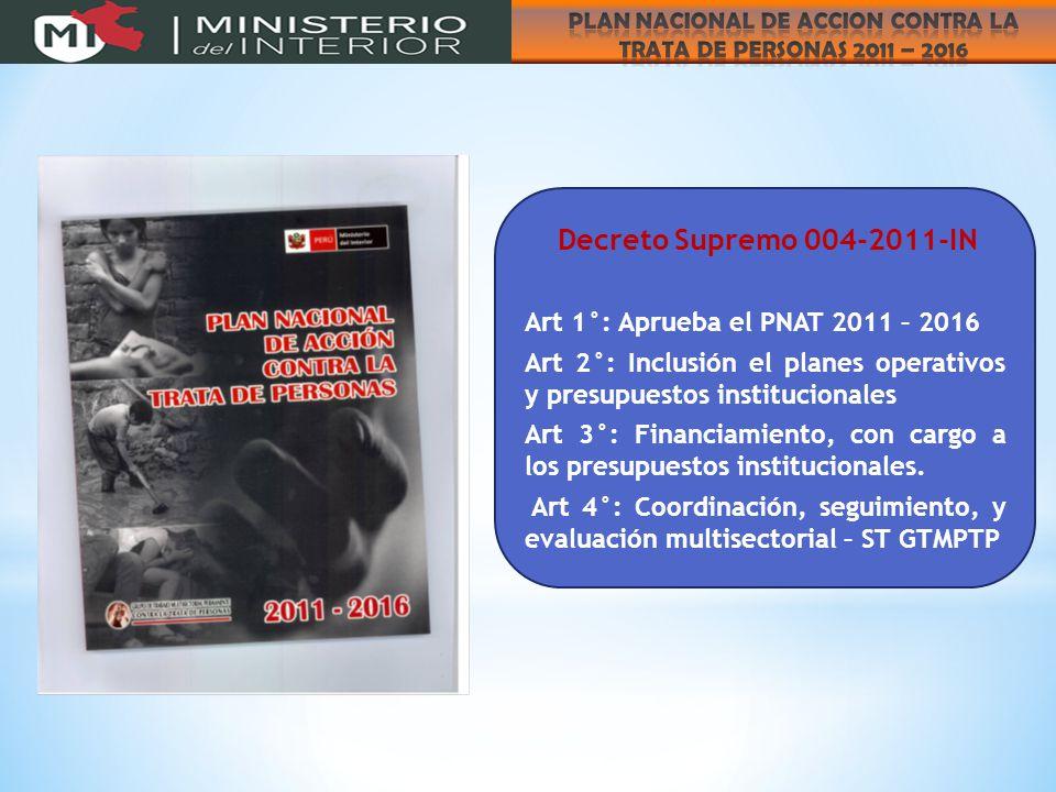 Decreto Supremo 004-2011-IN Art 1°: Aprueba el PNAT 2011 – 2016 Art 2°: Inclusión el planes operativos y presupuestos institucionales Art 3°: Financiamiento, con cargo a los presupuestos institucionales.