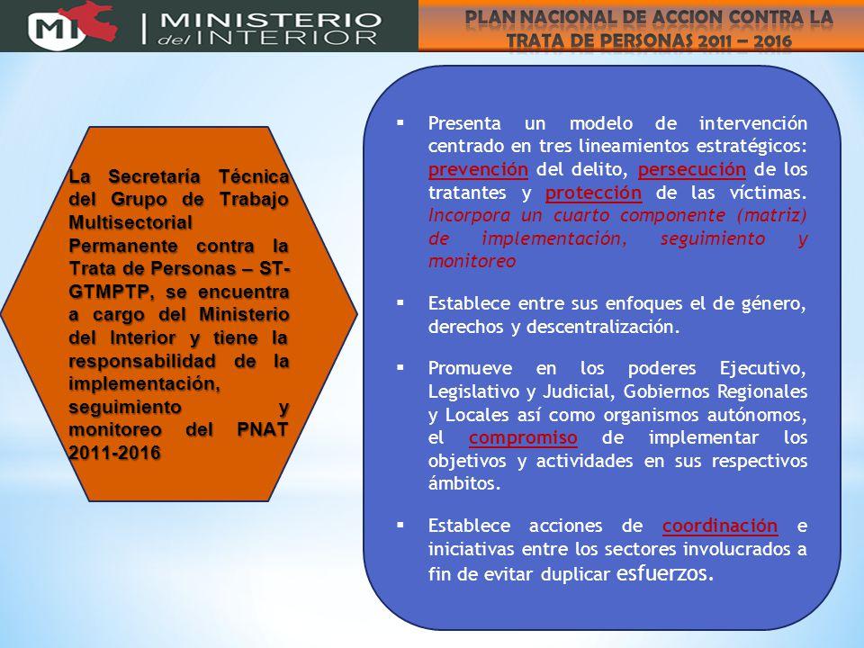  Presenta un modelo de intervención centrado en tres lineamientos estratégicos: prevención del delito, persecución de los tratantes y protección de las víctimas.