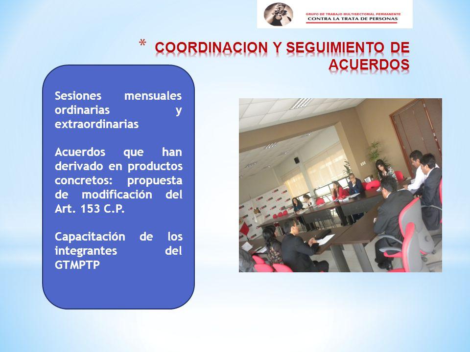 Sesiones mensuales ordinarias y extraordinarias Acuerdos que han derivado en productos concretos: propuesta de modificación del Art.