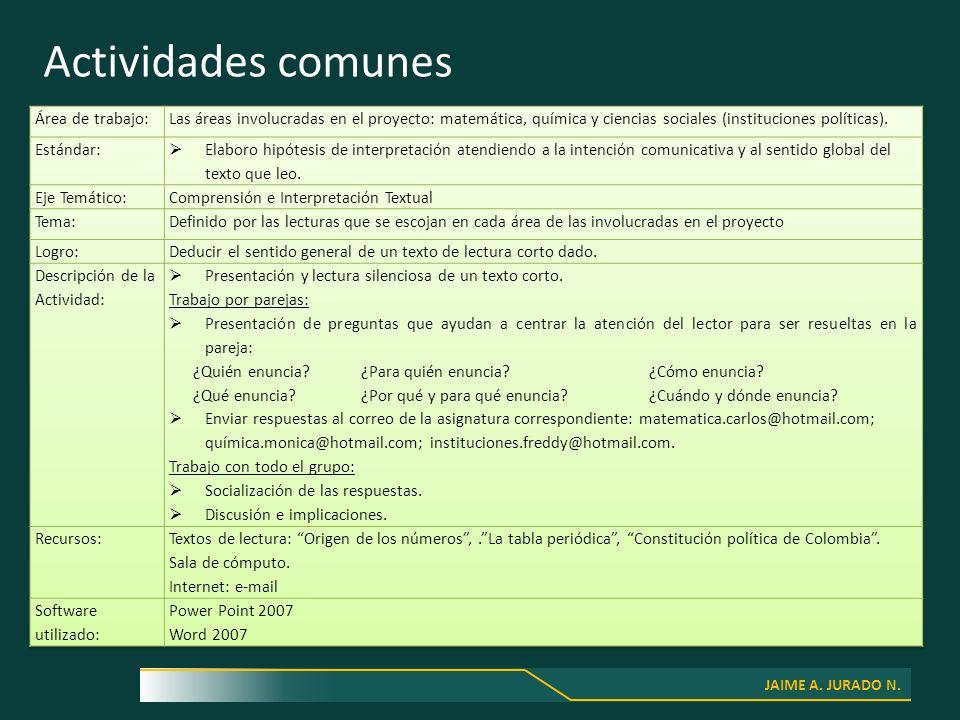 JAIME A. JURADO N. Actividades comunes