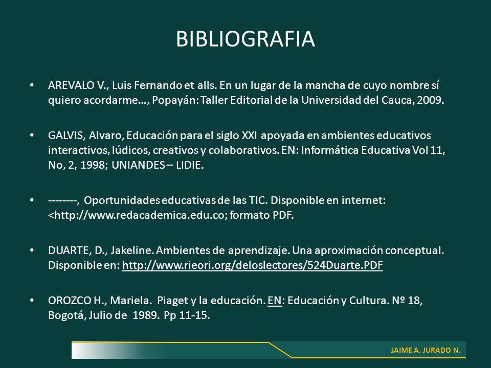JAIME A. JURADO N. BIBLIOGRAFIA AREVALO V., Luis Fernando et alls.